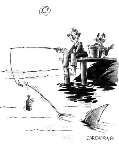 рисовать карандашом рыбаки