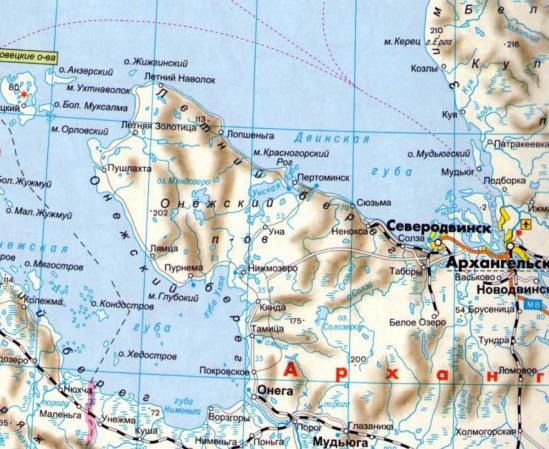карта онежское рыбалка